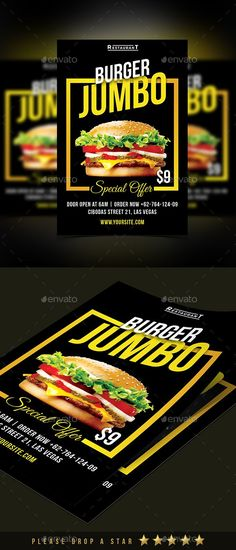 Burger Flyer Burger Flyer - The perfect way to make the best impression. Modern Layout, Clean typographic structure and very easy to use and customise.- This Voucher have a very organized and named layers, really easy to customize. The Package Includes : 1 PSD File Ready Print 1 Help File.txt { Link Download Font }Features :Fully Layered PSD file. Fully Custom
