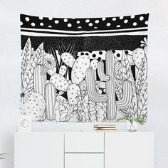 Searching for a Black & White Cactus Tapestry? Shop for high quality Wall Tapestries designed by independent artists on W. Tapestry Design, Wall Tapestry, Cool Tapestries, A Team, Vivid Colors, Hand Sewing, Oriental, Cactus, Just For You