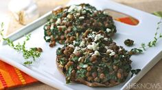 Garlicky lentil and kale-stuffed portobello mushrooms are a hearty go-to #MeatlessMonday meal.