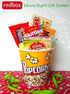 Movie Night Redbox Gift Basket - perfect quick holiday teacher gift idea and cheap enough to do for all of your kids teachers!