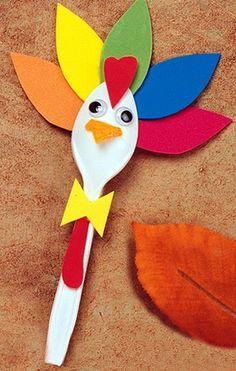 turkey spoon craft      #kids #crafts #DIY