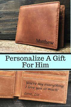 ca40fb095504 Mens Personalized Leather Wallet- Gift Him a unique and useful gift with a  special message