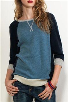 Autumn Cashmere Color Block Sweat Shirt