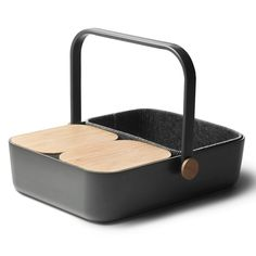 // Nicest picnic basket. So well designed. Tops serve as cutting boards. Handle drops to turn it into a serving tray. Felt insulator keeps things cold, or hot.