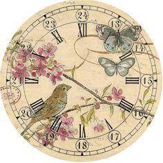 Vintage Clock with Flowers Clock Art, Diy Clock, Clock Decor, Wall Clocks, Vintage Labels, Vintage Cards, Vintage Paper, Vintage Clocks, Vintage Ephemera