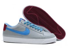 Nike Blazer Low 09 ND Gris Bleu Chaussures en cuir pour homme,Good quality��You are worthy to wear it .