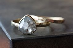Silver-White Diamond RIng in 14kt Yellow Gold- engagement ring, wedding, bridal jewelry, rose cut, natural diamond, pear, hammered band. $795.00, via Etsy.