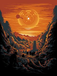 This illustration cleverly combines some of the most iconic pieces of the movie, the ship, the monolith, the monkeys, and HAL's eye subtly hidden in the sun.