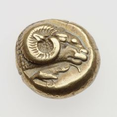 1/6 stater - elektron - Mitilene, Lesbo (500-480 a.C.) - testa di ariete vs.dx. e gallo vs.sn. - Museum of Fine Arts, Boston