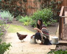 Shiva Rose in her garden.  We planted broccoli, cauliflower, sugar snap peas, sweet pea flowers, lettuce, spinach, parsley, cilantro and more. We gardened until the sun went down.  A perfect end to the day.