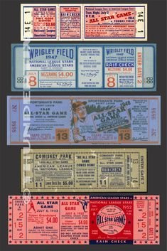 These tickets are printed on Matte photo paper. The backs of the tickets are white. Game Tickets, Baseball Tickets, Ticket Design, Ny Mets, American League, Game Reserve, National League, Chicago White Sox, All Star