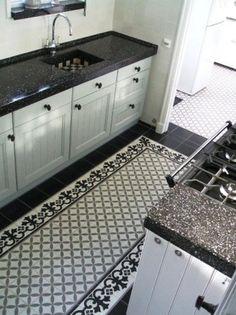Beautiful tile floor in classic kitchen.