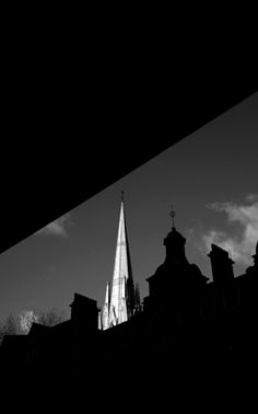 love the way Defty uses the buildings and a bridge to frame the church tower and used the light to highlight it against the black high contrast buildings High Contrast, Highlight, Buildings, Arch, Bridge, Tower, Celestial, Lighting, Frame