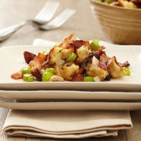 Bacon-Date Stuffing-it calls for hawaiian sweet bread but we could totally substitute something else