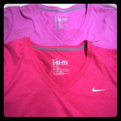 Nike V neck T shirts Light and dark pink. Dri-Fit. New Nike Tops