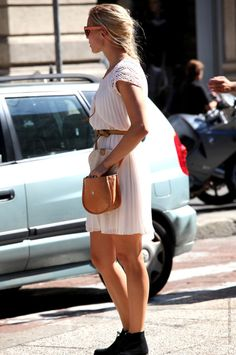 love her dress and shades, not crazy about the choice of shoes
