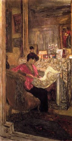 Lucy Hessel Reading the Newspaper, rue de Naples-1917 by Edouard VUILLARD, French, (1868-1940)