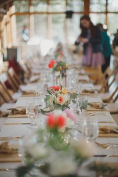 Flowers by Lace and Lilies, farm table centerpieces, coral wedding, vail colorado