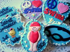Swim Cookies :) Too darn adorable! Perfect for a child's pool party! Cut Out Cookies, Cute Cookies, Sugar Cookies, Beach Dessert, Swim Team Gifts, Gourmet Cookies, Themed Cakes, Cookie Decorating, Sweet Treats