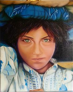 """""""Portrait of an Afghan Child"""", Oil on Canvas, 16""""x24"""" Original artwork. Available for sale on: http://www.houzz.com/pro/nersel-muehlen/nersel-zur-muehlen  afghan child, afghan girl, Afghanistan, ethnic, original art, oil painting"""
