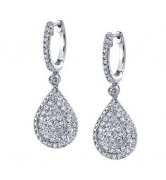 Style #ER165    This stunning pair of 18K white gold dangle earrings feature 1.42 carats of round brilliant diamonds.