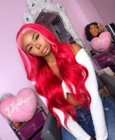 Red Hair With Pink Highlights, Protective Styles, Temporary Pink Hair Dye, Locs, Best Lace Wigs, Colored Wigs, Colored Hair, Pink Wig, Ombre Wigs