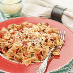 Bowtie Pasta with Tomato and Roasted Red Pepper Sauce By Food Network Kitchen