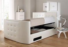 Atlantis Leather Ottoman TV Bed - White