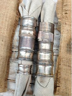 Antique sterling silver napkin rings.