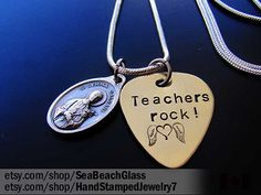 Gift for Teacher. Student. Graduation Gift. Hand Stamped Necklace. Handstamped. Guitar Pick. Scholars. St Gemma. St Nicholas. St Philomena