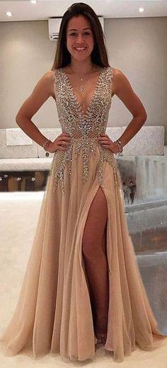 Deep V-neck Prom Dress,Beading Prom Dress,Long Prom Dress,Sexy Party Dress,Split Evening Dresses,A Line Prom Dresses,Prom Dress #homecomingdresses #eveningdresses