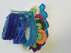 Beaded Crochet Bracelet Turkish Lace Colorful by SESIMTAKI