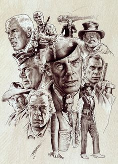 Lee Marvin by NachoCastro on DeviantArt Celebrity Caricatures, Celebrity Drawings, Celebrity Portraits, Hollywood Stars, Classic Hollywood, Lee Marvin, Cinema Tv, Art Pictures, Photos