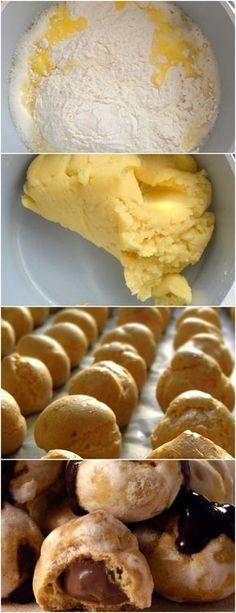 UM AMIGO PADEIRO QUEM ME ENSINOU A FAZER ESSES MARAVILHOSOS DOCES!! VEJA AQUI>>>Em uma panela junte a água, a manteiga, o açúcar e o sal. Leve ao fogo até que comece a ferver e em seguida adicione a farinha de trigo de uma vez. #receita#bolo#torta#doce#sobremesa#aniversario#pudim#mousse#pave#Cheesecake#chocolate#confeitaria Brazillian Food, Yummy Treats, Yummy Food, Bread And Pastries, Cake Pops, Chocolate Cookies, Fun Desserts, Food Hacks, Sweet Recipes