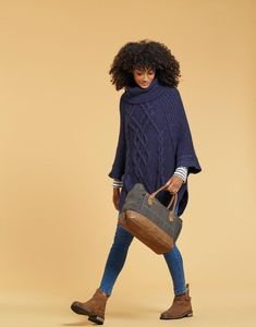 Joules US ANALISE Womens Cable Knit Poncho French Navy
