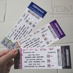 Just the ticket for your big event, these magnetic tickets can be adapted to a sports, concert, or Broadway theme.