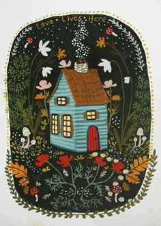 To love and where it lives 💫 Art And Illustration, Painting Inspiration, Art Inspo, Scandinavian Folk Art, Guache, Cute Art, Les Oeuvres, Collages, Art Drawings