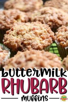 Easy Buttermilk-Rhubarb Muffins with a Sugar Crumble Topping. These muffins are so easy to make, and the perfect way to the fresh rhubarb growing in your garden - Happy Hooligans Rhubarb Desserts, Rhubarb Cake, Rhubarb Recipes, Köstliche Desserts, Rhubarb Dishes, Rhubarb Bread, Rhubarb Butter, Cooking Rhubarb, Healthy Desserts