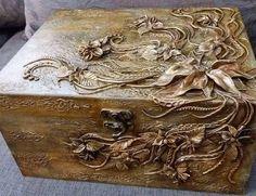 Gorgeous Hand Decorated Wood Box Storage Box Jewelry Box