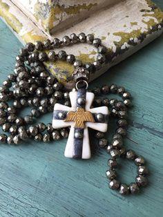 Bohemian glam neutral gemstone cross soldered Thunderbird pendant BoHo style jewelry fun accessory by MarleeLovesRoxy