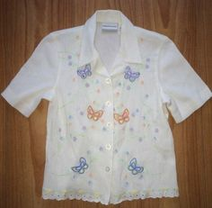 Alfred Dunner Petite 8P White Crinkle Cotton Blend Multicolored Embroidery