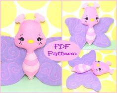 PDF Pattern Butterfly Plush Felt Doll Pattern by EmmaIrlamCrafts