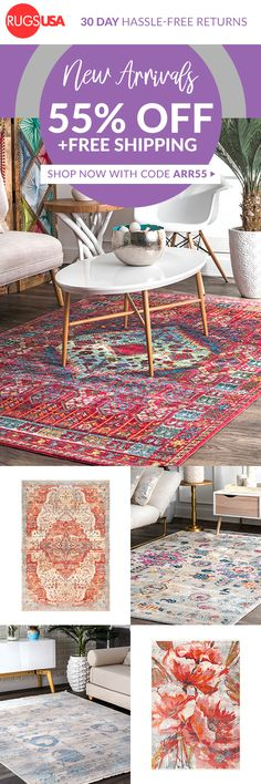 Rugs USA March Flash Sale: Get 55% Off New Arrivals Today With Code ARR55!