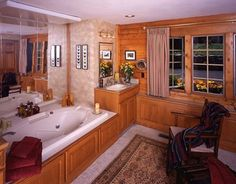 Spacious bath in this Ward Cedar Log Home.