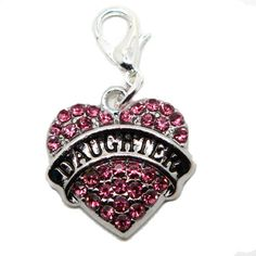 Pink Rhinestone Heart Daughter Charms Pendant clasp  clip on or Dangle Bead for European Charm Bracelets Memory lockets by heavenlycow. Explore more products on http://heavenlycow.etsy.com