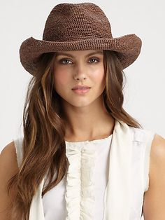"""When in the """"I'm a Texan"""" mood, a soft straw cowboy hat is feminine and in line with the color palette. Pair with a print blouse! Helen Kaminski - Crocheted Raffia Cowboy Hat - Saks.com"""