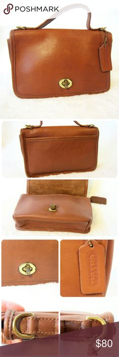"Vintage Coach Handbag Casino 9924 in Light Brown This delightful small vintage brown leather handbag from Coach is a treasure awaiting your discovery!   -Good Vintage condition, hardware shows wear -Some leather marks that add to the vintage beauty -No major stains, tears, or rips. -Recently cleaned and treated w/ Coach leather kit -One outside pocket, one inside pocket -Style Casino 9924 -9""x5""x2"" -Made in the USA -Missing original Crossbody strap* -See below for more info  Questions? Just…"