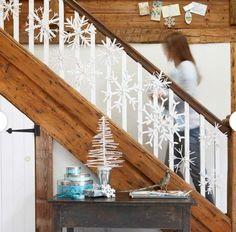 Stairway Christmas Winter Decorating