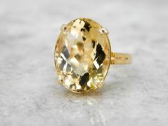 Classic and Simple Vintage Yellow Gold Yellow Beryl Ring - T5ZFK1-P