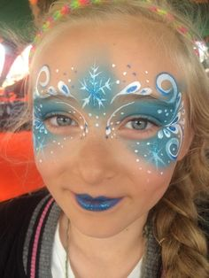 Elsa Face Painting, Princess Face Painting, Face Painting Tips, Face Painting Designs, Kids Makeup, Eye Makeup, Frozen Face Paint, Frozen Makeup, Christmas Face Painting